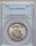 Franklin Half Dollars: , 1952 50C MS66 Full Bell Lines PCGS. PCGS Population (260/8). NGCCensus: (90/4). Numismedia Wsl. Price for problem free NG...