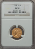 Indian Quarter Eagles: , 1912 $2 1/2 AU58 NGC. NGC Census: (1680/6348). PCGS Population(764/2894). Mintage: 616,000. Numismedia Wsl. Price for prob...