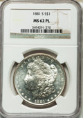 Morgan Dollars: , 1881-S $1 MS62 Prooflike NGC. NGC Census: (208/6108). PCGSPopulation (496/8151). Numismedia Wsl. Price for problem free N...