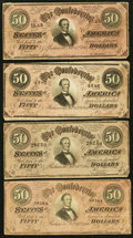 Confederate Notes:1864 Issues, T66 $50 1864 PF-2; -11 (2); -12 Cr. 496; 500 (2); 501.. ... (Total: 4 notes)