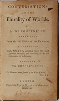 Books:Science & Technology, M. De Fontenelle. Conversations on the Plurality of Worlds. Peter Wilson, 1761. Copper engraved folding charts. ...