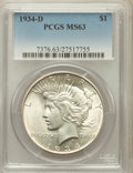 Peace Dollars: , 1934-D $1 MS63 PCGS. PCGS Population (1500/1732). NGC Census:(1141/1059). Mintage: 1,569,500. Numismedia Wsl. Price for pr...