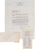 Football Collectibles:Others, 1941 Nile Kinnick Signed Letter & Banquet Card....