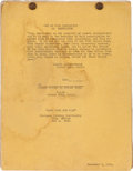 "Movie/TV Memorabilia:Documents, A Continuity Script from ""Gone With The Wind.""..."