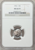 Roosevelt Dimes: , 1963 10C MS66 Full Bands NGC. NGC Census: (43/7). PCGS Population(33/3). Mintage: 123,600,000. Numismedia Wsl. Price for p...