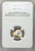 Roosevelt Dimes: , 1946-D 10C MS67 ★ Full Bands NGC. NGC Census: (129/2). PCGSPopulation (78/0). Mintage: 61,04...
