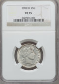 Barber Quarters: , 1900-O 25C VF35 NGC. NGC Census: (2/87). PCGS Population (5/102).Mintage: 3,416,000. Numismedia Wsl. Price for problem fre...