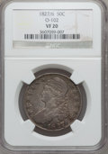 Bust Half Dollars: , 1827/6 50C VF20 NGC. O-102. NGC Census: (0/85). PCGS Population(0/190). Numismedia Wsl. Price for problem free NGC/PCGS ...