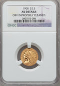 Indian Quarter Eagles, 1908 $2 1/2 -- Obverse Improperly Cleaned -- NGC Details. AU. NGCCensus: (24/8969). PCGS Population (102/5943). Mintage: 5...