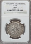 Bust Half Dollars, 1834 50C Large Date, Small Letters VF25 NGC. O-108. NGC Census: 0in 25, 0 finer (7/13). Numismedia Wsl. Price for probl...
