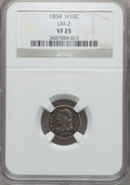 Bust Half Dimes: , 1834 H10C VF25 NGC. LM-2. NGC Census: (1/556). PCGS Population(4/537). Mintage: 1,480,000. Numismedia Wsl. Price for prob...