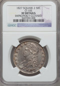 Bust Half Dollars, 1827 50C Square Base 2 -- Improperly Cleaned -- NGC Details. XF.O-105. NGC Census: (96/1822). PCGS Population (180/1549)....