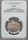 Commemorative Silver: , 1926 50C Oregon AU58 NGC. NGC Census: (26/1978). PCGS Population(53/3008). Mintage: 47,955. Numismedia Wsl. Price for prob...