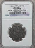 Colonials, 1722 1/2P Hibernia Halfpenny, Type One, Harp Left -- EnvironmentalDamage -- NGC Details. VF. NGC Census: (1/26). PCGS Popu...