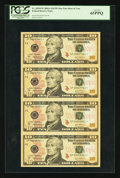 Fr. 2039-F* $10 2004A Federal Reserve Notes. Uncut Sheet of Four. PCGS Gem New 65PPQ