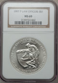 Modern Issues: , 1997-P $1 Law Enforcement Silver Dollar MS69 NGC. NGC Census:(489/227). PCGS Population (945/139). Numismedia Wsl. Price ...