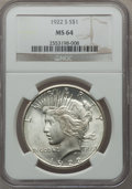 Peace Dollars: , 1922-S $1 MS64 NGC. NGC Census: (1779/279). PCGS Population(1839/308). Mintage: 17,475,000. Numismedia Wsl. Price for prob...