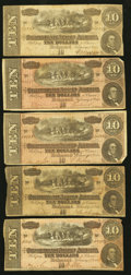 Confederate Notes:1864 Issues, T68 $10 1864 Five Examples Very Good or Better.. ... (Total: 5 notes)