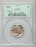 Buffalo Nickels: , 1913 5C Type Two MS64 PCGS. PCGS Population (1032/744). NGC Census:(701/393). Mintage: 29,858,700. Numismedia Wsl. Price f...