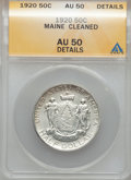 Commemorative Silver: , 1920 50C Maine -- Cleaned -- ANACS. AU50 Details. NGC Census:(4/2766). PCGS Population (2/3556). Mintage: 50,028. Numismed...