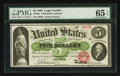 Large Size:Legal Tender Notes, Fr. 61a $5 1862 Legal Tender PMG Gem Uncirculated 65 EPQ.. ...