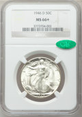 Walking Liberty Half Dollars: , 1946-D 50C MS66+ NGC. CAC. NGC Census: (2180/112). PCGS Population(1834/50). Mintage: 2,151,000. Numismedia Wsl. Price for...