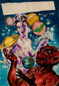 Original Comic Art:Miscellaneous, Virgil Finlay Science Stories Cosmic Juggler PreliminaryCover Illustration Original Art (undated)....