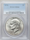 Eisenhower Dollars: , 1978 $1 MS66 PCGS. PCGS Population (347/5). NGC Census: (132/5). Mintage: 25,702,000. Numismedia Wsl. Price for problem fre...