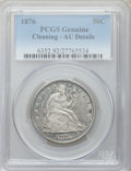 Seated Half Dollars, 1876 50C -- Cleaning -- PCGS Genuine. AU Details. NGC Census:(12/253). PCGS Population (34/306). Mintage: 8,419,150. Numis...