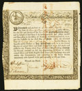 Colonial Notes:Massachusetts, Massachusetts Bay State Treasury Certificate June 1, 1777 AndersonMA-7 Very Fine.. ...