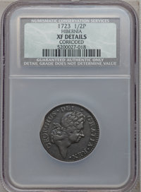1723 1/2P Hibernia Halfpenny -- Corroded -- NCS. XF Details. NGC Census: (10/138). PCGS Population (32/336). ...(PCGS# 1...