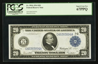 Fr. 991b $20 1914 Federal Reserve Note PCGS Superb Gem New 67PPQ