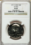 Proof Kennedy Half Dollars, 1971-S 50C Doubled Die Obverse, PR66 NGC. VP-003. ...
