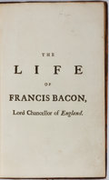 Books:Biography & Memoir, David Mallet. The Life of Francis Bacon, Lord Chancellor ofEngland. A. Millar, 1740. First separate edition. Ni...