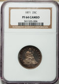 Proof Seated Quarters, 1871 25C PR64 Cameo NGC....