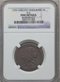 Large Cents, 1793 1C Wreath Cent, Vine and Bars -- Burnished -- NGC Details.Fine. S-6, B-7, R.3....