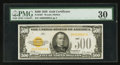Small Size:Gold Certificates, Fr. 2407 $500 1928 Gold Certificate. PMG Very Fine 30.. ...