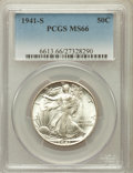Walking Liberty Half Dollars: , 1941-S 50C MS66 PCGS. PCGS Population (472/7). NGC Census:(205/19). Mintage: 8,098,000. Numismedia Wsl. Price for problem ...