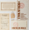 Miscellaneous:Ephemera, [Berlin Wall]. Small Section of the Wall with Certificate ofAuthenticity. Portion of the Berlin Wall measuring about an inc...