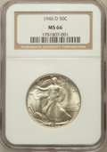 Walking Liberty Half Dollars: , 1946-D 50C MS66 NGC. NGC Census: (2180/112). PCGS Population(1834/50). Mintage: 2,151,000. Numismedia Wsl. Price for probl...
