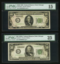 Fr. 2101-G $50 1928A Federal Reserve Note. PMG Very Fine 25; Fr. 2150-G $100 1928 Federal Reserve Note. PMG Choice Fine...