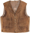 "Movie/TV Memorabilia:Costumes, A John Wayne Vest from ""The Cowboys.""..."