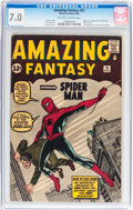 Silver Age (1956-1969):Superhero, Amazing Fantasy #15 (Marvel, 1962) CGC FN/VF 7.0 Off-white to whitepages....