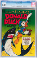 Golden Age (1938-1955):Cartoon Character, Four Color #291 Donald Duck (Dell, 1950) CGC VF 8.0 Off-white towhite pages....