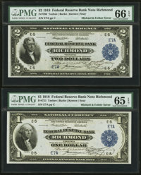 Fr. 721 $1 1918 Federal Reserve Bank Note Courtesy Autographs PMG Gem Uncirculated 65 EPQ and Fr. 760 $2 1918 Federal Re...