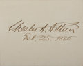 Autographs:U.S. Presidents, Chester A. Arthur Card Signed....