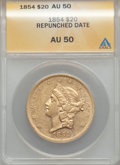 Liberty Double Eagles, 1854 $20 Repunched Small Date AU50 ANACS. Breen-7167....