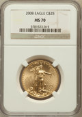 Modern Bullion Coins, 2008 $25 Half-Ounce Gold Eagle MS70 NGC. NGC Census: (1732). PCGSPopulation (0). Numismedia Wsl. Price for problem free N...