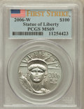 Modern Bullion Coins, 2006-W $100 One-Ounce Platinum Statue of Liberty, First Strike MS69PCGS. PCGS Population (725/405). Nu...