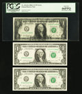 Error Notes:Ink Smears, Fr. 1916-K $1 1988A Federal Reserve Notes. Three ConsecutiveExamples. Gem Crisp Uncirculated-PCGS Gem New 66PPQ.. ... (Total: 3notes)